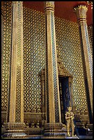 Gilded columns and walls, Wat Phra Kaew. Bangkok, Thailand ( color)