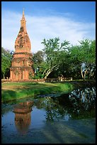 Chedi and pond. Muang Boran, Thailand