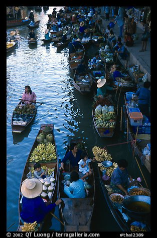 Canal from above, floating market. Damnoen Saduak, Thailand (color)