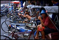 Tricycle drivers. Nakhon Pathom, Thailand ( color)