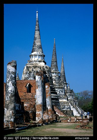 Ruined chedis. Ayutthaya, Thailand (color)