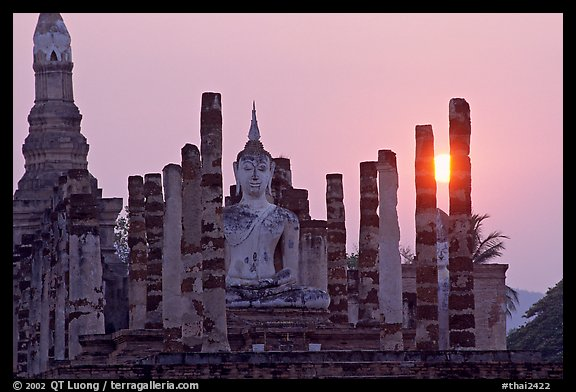 Wat Mahathat at sunset. Sukothai, Thailand (color)