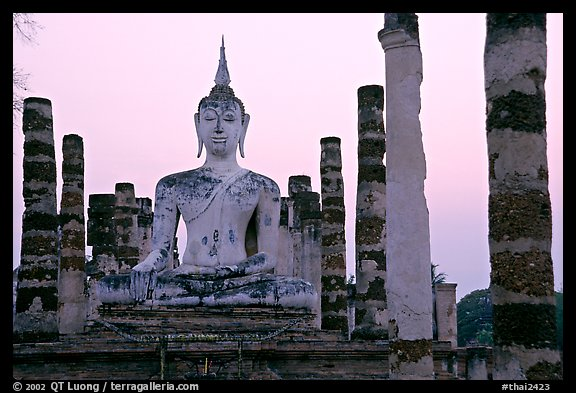 Wat Mahathat, the most important complex of Sukhothai, dusk. Sukothai, Thailand (color)