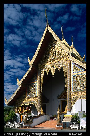 Wat Phra Singh, typical of northern Thai architecture. Chiang Mai, Thailand (color)