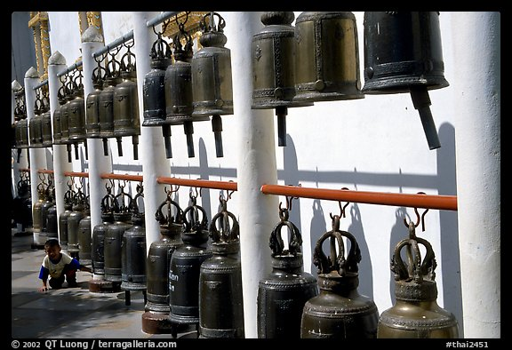 Bells at Wat Phra That Doi Suthep. Chiang Mai, Thailand (color)