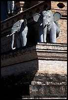 Elephants at Wat Chedi Luang. Chiang Mai, Thailand (color)