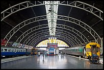 Train platforms inside Hualamphong station. Bangkok, Thailand ( color)