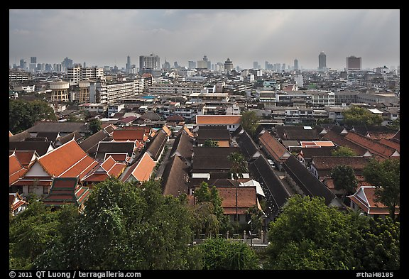 Temple complex and city skyline. Bangkok, Thailand (color)