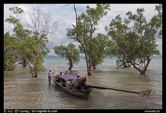 Longtail boat set to depart through mangroves, Rai Leh. Krabi Province, Thailand (color)