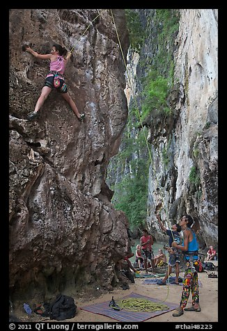Rock climbers on beach, Ao Railay East. Krabi Province, Thailand (color)