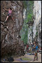 Rock climbers on beach, Ao Railay East. Krabi Province, Thailand ( color)