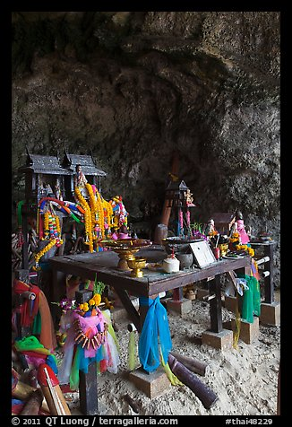 Tham Phra Nang (princess cave) shrine, Railay. Krabi Province, Thailand (color)