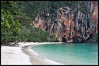 Pranang Cave Beach and limestone cliff, Railay. Krabi Province, Thailand (color)