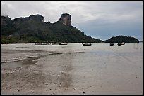 Mud flats and bay at low tide, Rai Leh East. Krabi Province, Thailand (color)