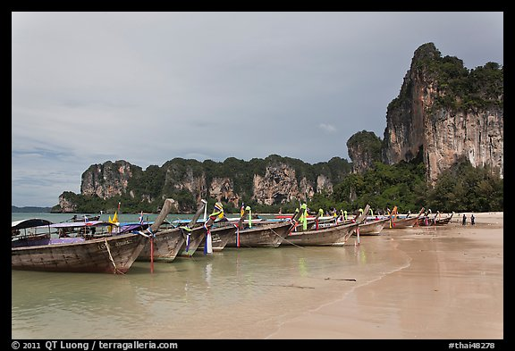Boats and cliffs,  Hat Rai Leh West. Krabi Province, Thailand (color)