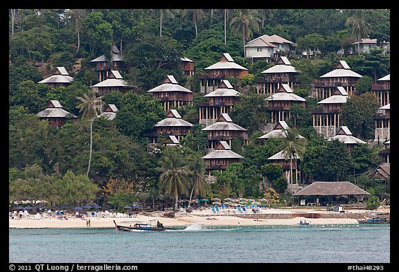 Picture Photo Beach And Hillside Bungalows On Stilts Ko Phi