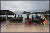 Long tail boats and bay, Ao Lo Dalam, Ko Phi-Phi island. Krabi Province, Thailand (color)