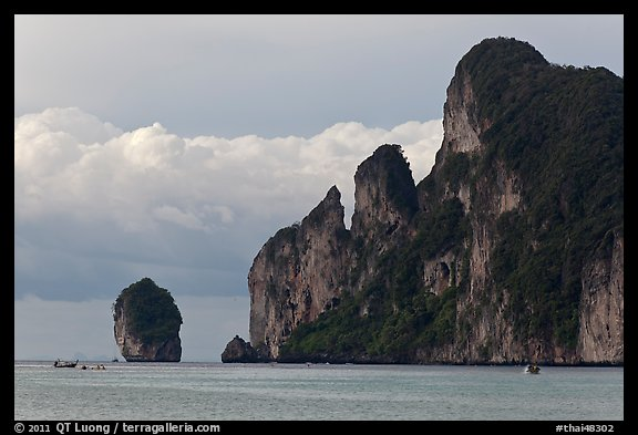 Cliffs and clouds, Lo Dalam bay, Ko Phi-Phi island. Krabi Province, Thailand (color)