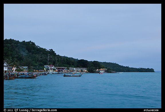 Shoreline and hills at dusk, Phi-Phi island. Krabi Province, Thailand (color)