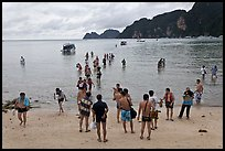 Beach with tourists arriving, Phi-Phi island. Krabi Province, Thailand (color)