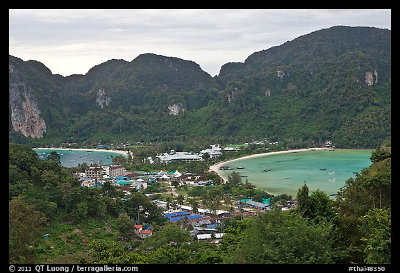 Twin bays and craggy hills, Ko Phi-Phi island. Krabi Province, Thailand (color)