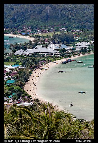 Lo Dalam beach and Tonsai village from above, Phi-Phi island. Krabi Province, Thailand (color)