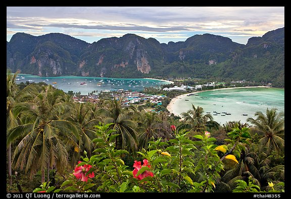 Panoramic view of isthmus and Tonsai village, Ko Phi-Phi island. Krabi Province, Thailand (color)