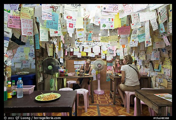 Pad Thai restaurant festoned with customer notes, Phi-Phi island. Krabi Province, Thailand (color)