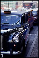 Black London taxis. London, England, United Kingdom (color)
