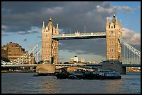 Barges and Tower Bridge. London, England, United Kingdom (color)