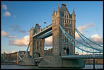 Close view of Tower Bridge, at sunset. London, England, United Kingdom (color)