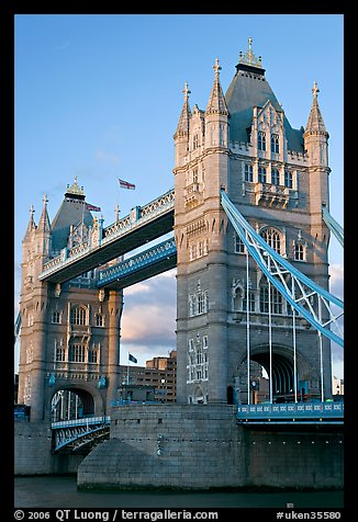 Close view of the two towers of the Tower Bridge. London, England, United Kingdom (color)