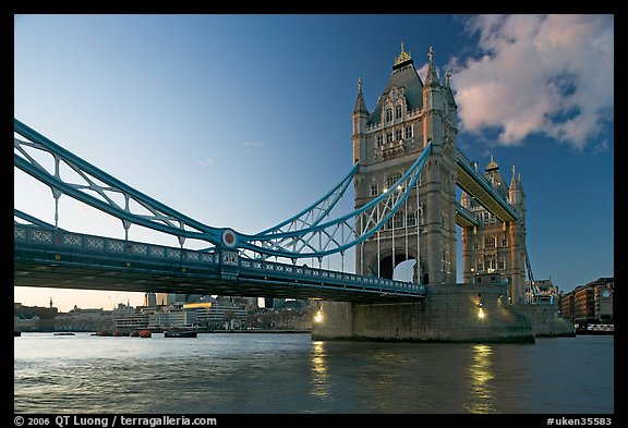 Wide view of Tower Bridge, a landmark 1876 bascule bridge. London, England, United Kingdom (color)