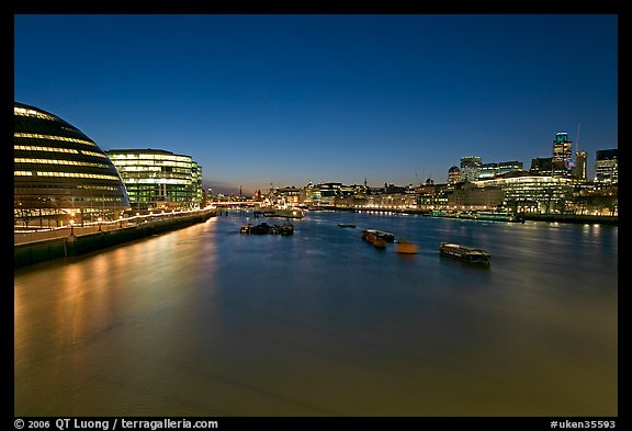 River Thames and skyline at night. London, England, United Kingdom (color)