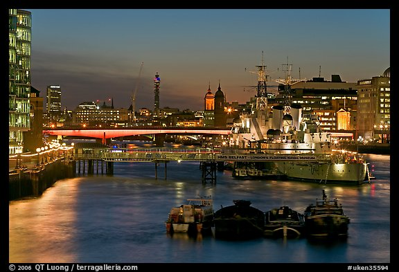 HMS Belfast, London Bridge, and Thames at night. London, England, United Kingdom (color)