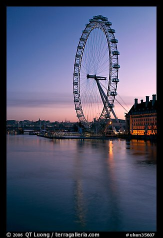 London Eye and Thames River at dawn. London, England, United Kingdom (color)