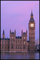 Big Ben tower, palace of Westminster, dawn. London, England, United Kingdom ( color)
