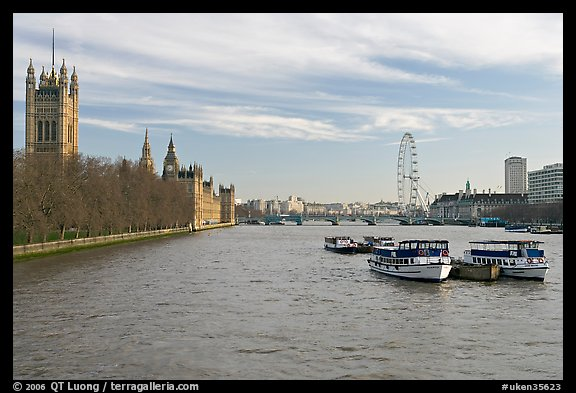 Skyline with Victoria Tower, Westminster Palace, Thames River and London Eye. London, England, United Kingdom (color)
