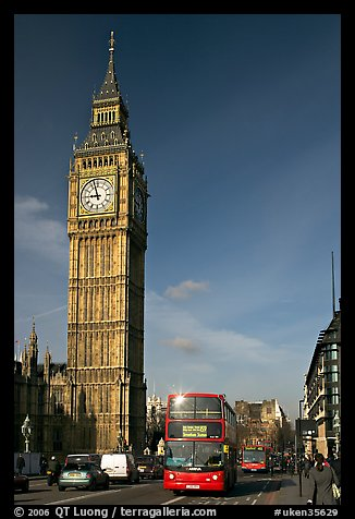 Double decker bus on Westminster Bridge  and Big Ben. London, England, United Kingdom (color)