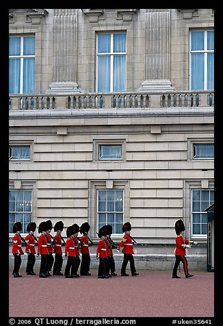 Guards marching during the changing of the Guard, Buckingham Palace. London, England, United Kingdom (color)