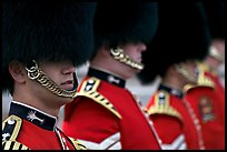 Close up of guards in ceremonial dress. London, England, United Kingdom