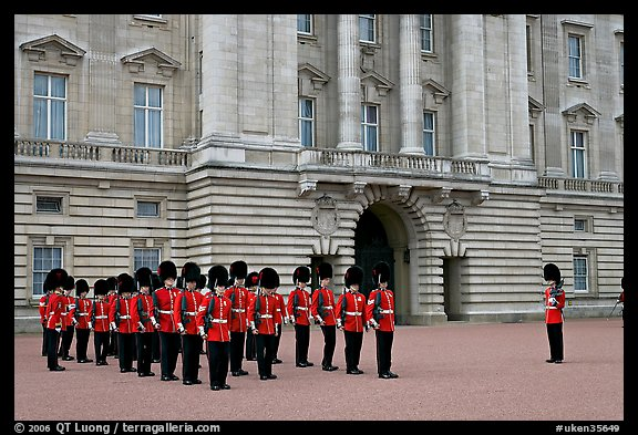 Household division guards during the changing of the Guard ceremonial. London, England, United Kingdom (color)