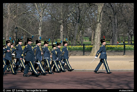 Guards marching near Buckingham Palace. London, England, United Kingdom (color)