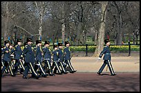 Guards marching near Buckingham Palace. London, England, United Kingdom