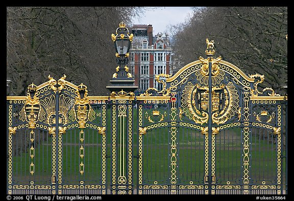 Gilded grids and park near Buckingham Palace. London, England, United Kingdom (color)