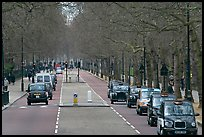 Black cabs and street near Saint James Park with. London, England, United Kingdom ( color)
