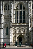 Facade and entrance to the Collegiate Church of St Peter, Westminster. London, England, United Kingdom