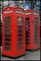 Two red phone boxes. London, England, United Kingdom (color)
