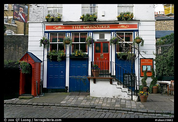 The Grenadier pub, afternoon. London, England, United Kingdom (color)