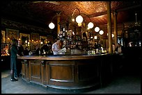 Central horseshoe bar in the 19th century victorian  pub Princess Louise. London, England, United Kingdom (color)
